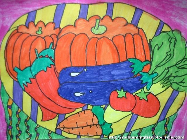 儿童画疏菜画的照片