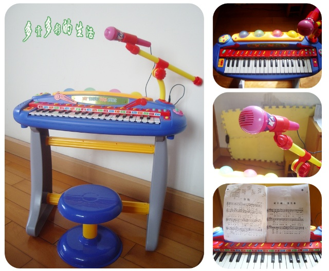 没买专业用的电子琴,买了一儿童版的给他玩玩