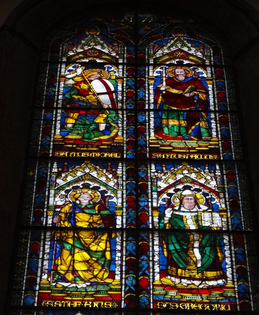 欧式尖顶教堂玻璃画