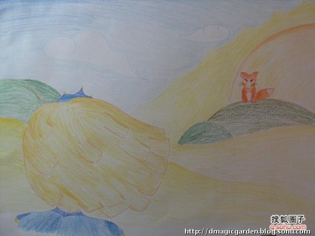 十一刚画的:小王子和狐狸.彩色铅笔的颜色,很无奈…&hellip