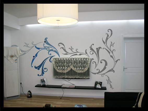 花纹藤蔓类墙绘;; 花纹藤蔓类墙绘-墙绘素材-墙绘图网; 电视背景墙