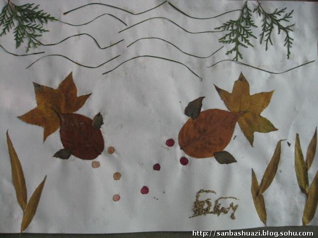 幼儿园树叶贴画作品 小学生树叶贴画作品 树叶贴画加背景作品 高难度