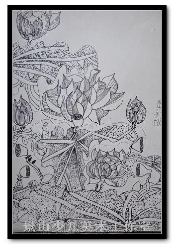 黑白手绘荷花池塘版画