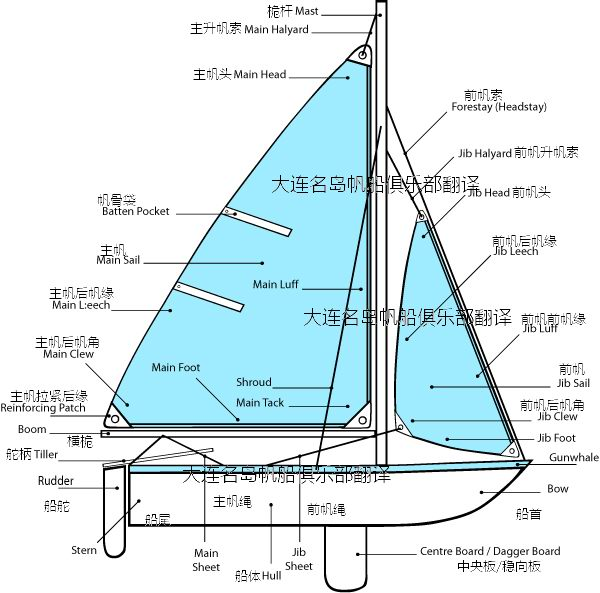 Centerboard Boat or Dinghy 稳向板船   It is a light, flexible, inexpensive boat with a small rudder behind. One of the most popular sailboat in Olympics.   特点-船底有一块可收放的稳向板。小巧、灵活、造价低、便于操纵、易于普及。奥运会项目中多数是这种船。 Multi-Hull 多体船   It is constructed by more than one h