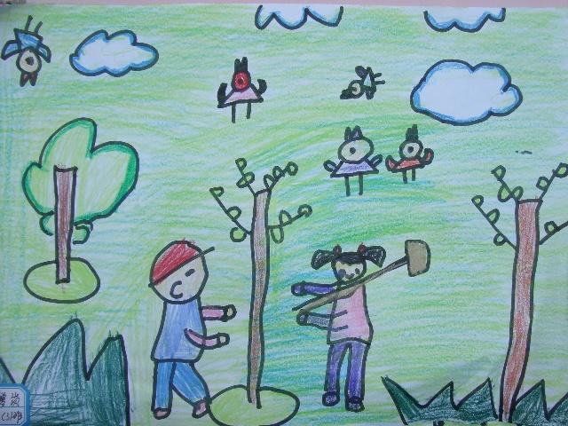 12植树节现场绘画作品-苍南县双语实验幼儿园大(3)