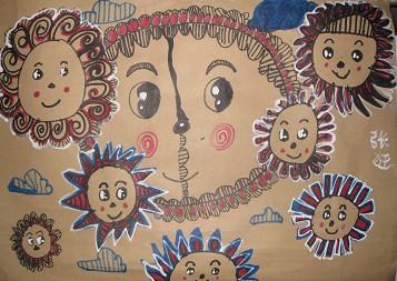 儿童创意线描画——心中的太阳