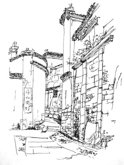 古代建筑手绘画