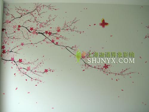 手绘墙画梅花素材
