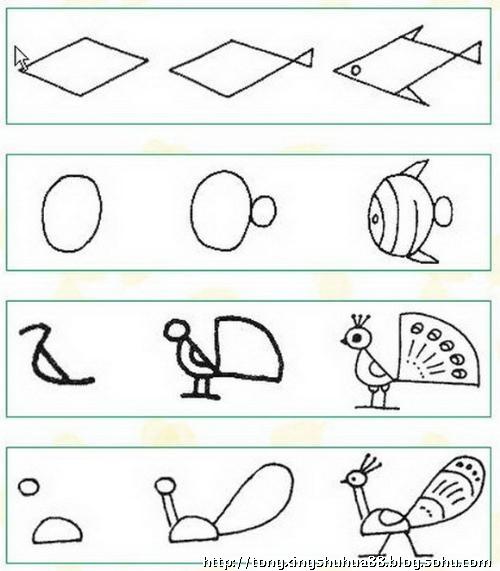 怎样画孔雀简笔画 动物类儿童简笔画