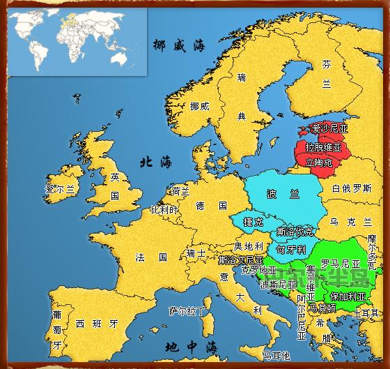 左上角:世界全图略图