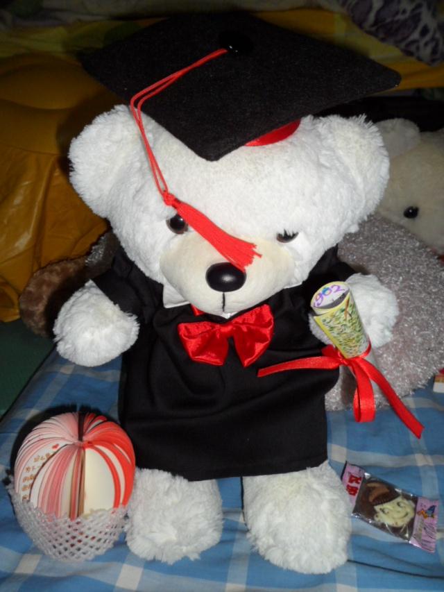 然后我看见一片灿烂的笑脸,一只聪明可爱的博士熊,一个芬芳扑鼻写满彩