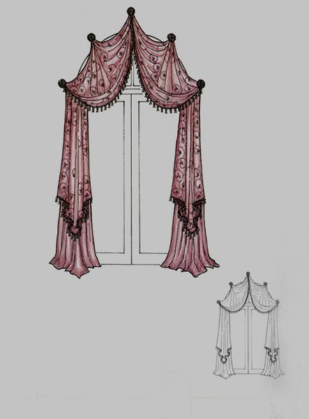 手绘窗帘样式