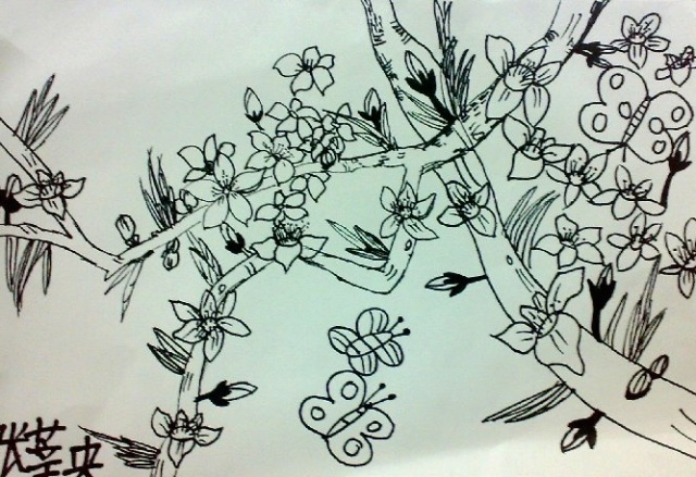 简笔画桃花树的画法-幼儿园塑胶地砖图片,幼儿园塑胶地砖图片大全