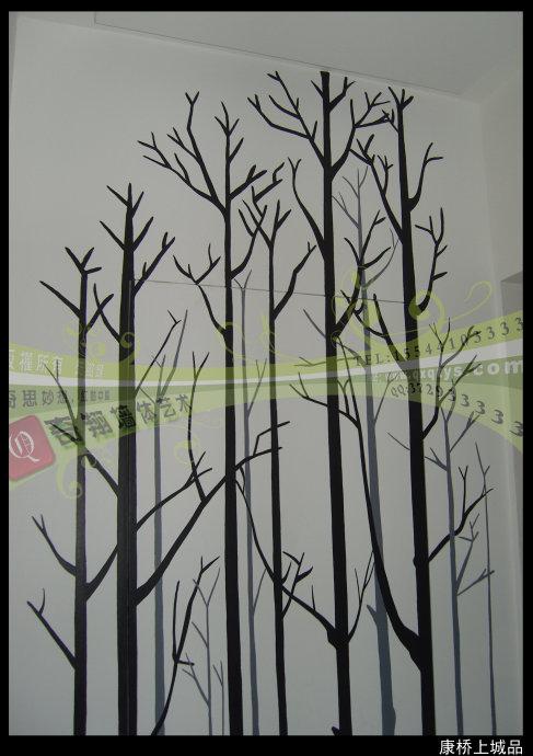 郑州墙绘 黑白搭配/隐形门的装饰 【奇翔新作】