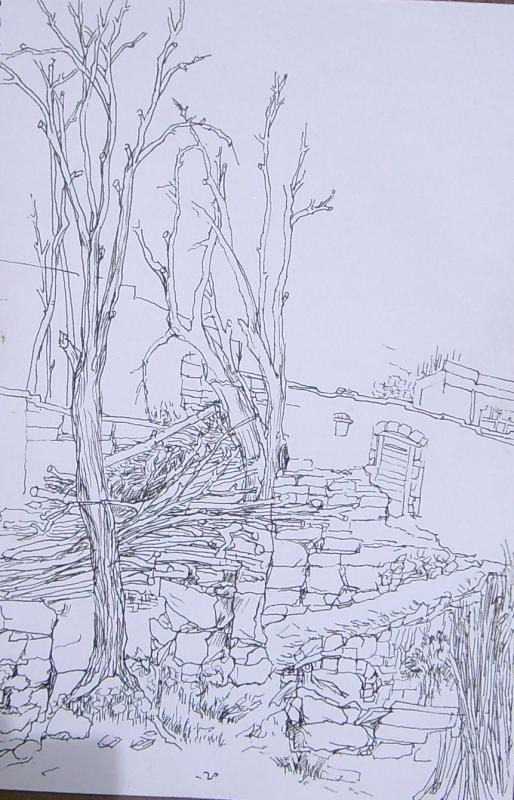 石头山手绘线稿
