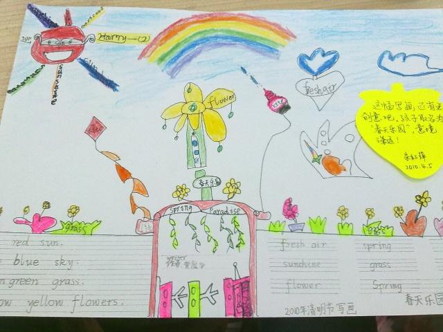 儿童画画春天的图画 一年级画春天的图画 画一画春天的图画高清图片
