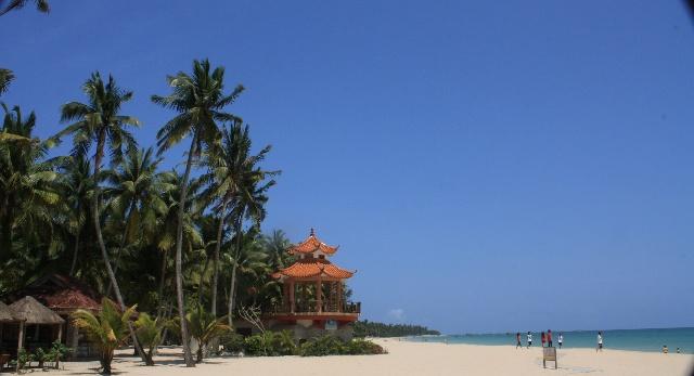 右边是中国海南岛的文昌东郊椰林湾.左边是古巴的德罗海滨.