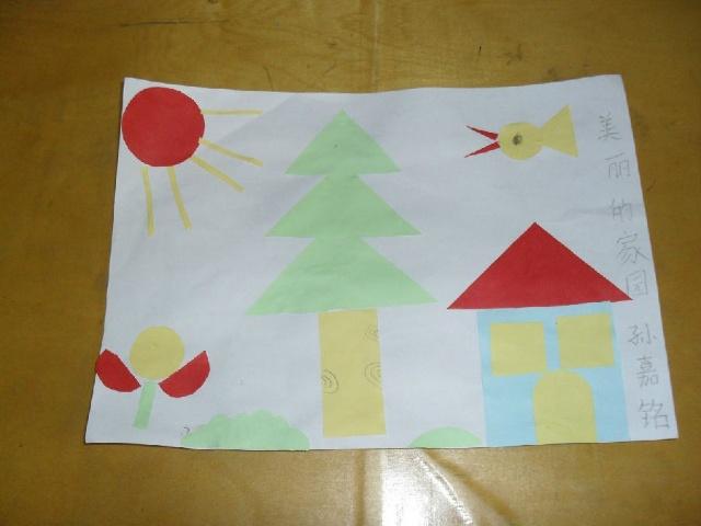 小房子则是由个一个蓝色的正方形和一个红色的三角形组成,正方形的是