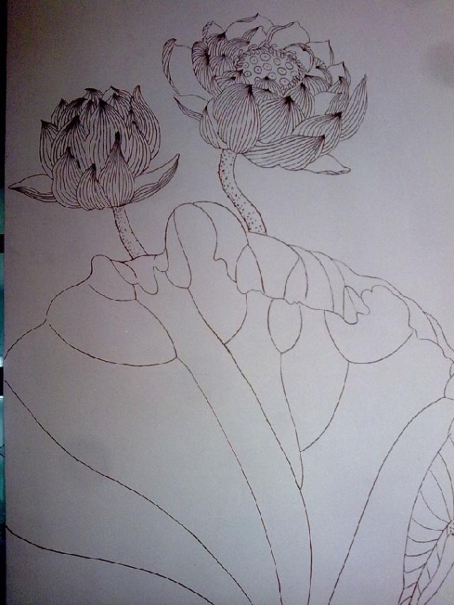 手绘铅笔画插花