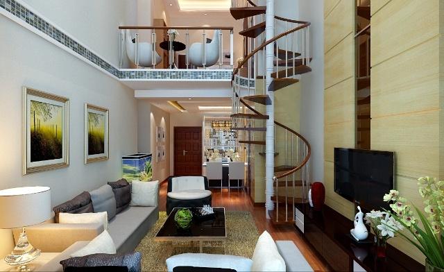 一层客厅餐厅,通往二层楼梯全景设计效果