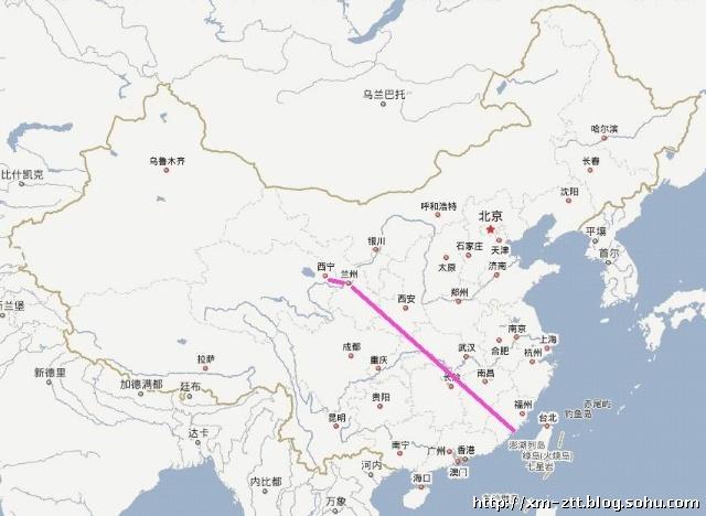 甘肃到西宁地图