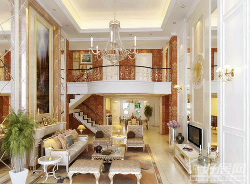 嘉鑫阳光雅居-三居室-120㎡-客厅装修效果图; 欧式家庭装修效果图(九)