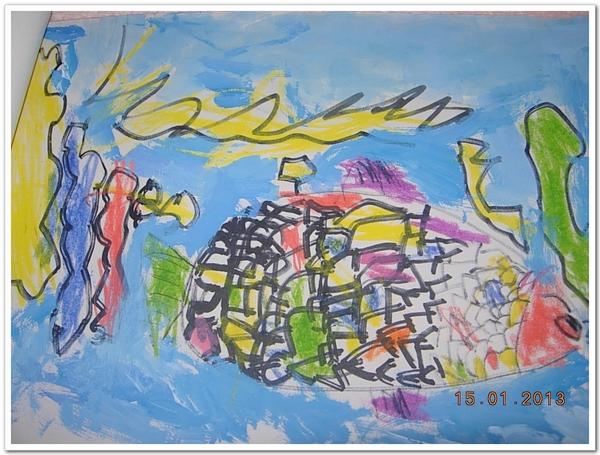 话说这次绘画兴趣班准备的材料是24色水粉画颜料,记号笔和素描