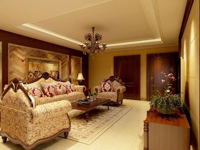 雷捷时代90平欧式风格三居室装修 实创装饰效果图 高清图片