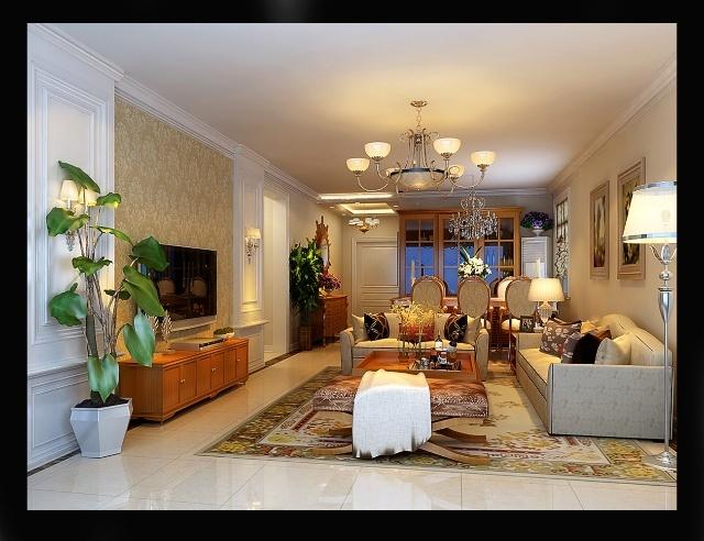 强佑清河新城a1户型简约欧式装修设计三居室166平米