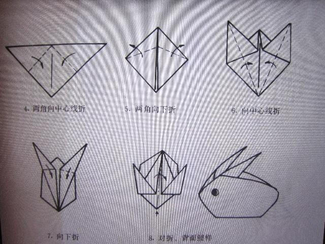 引导幼儿根据折纸图,自己动手由小皮球变成折小兔子.