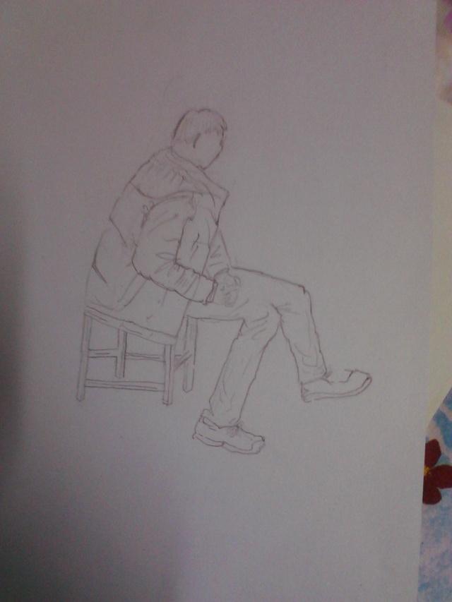 下午画的正方体素描