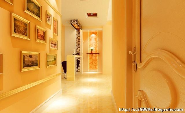 墙是设计的亮点,主人可以把喜欢的照片挂在墙上.走廊的尽头高清图片