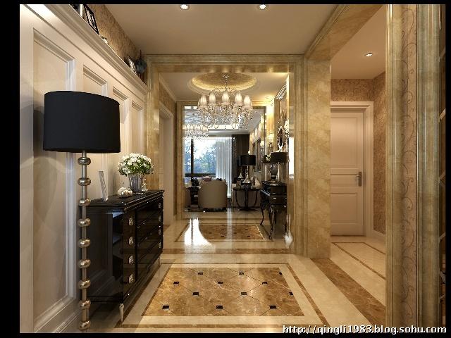 奢华不是豪宅的专利。 入口过厅及餐厅的空间比较拥挤,业主偏偏喜欢新古典的华丽和大气,为了让空间达到预期效果,首先采用对称的垭口将空间分隔,形成独立的功能区;门厅墙地面采用大理石,门及墙板用亚光白色,通过材质和颜色的配搭让空间明快;墙面的暗花壁纸增色很多;黑色的烤漆新古典家具是点睛之笔,让空间一下活跃起来,奢华的气质悠然而升。