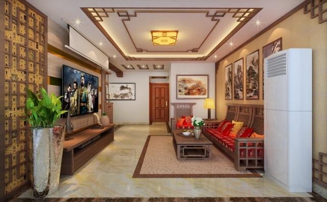 客厅空间利用中式木格吊顶